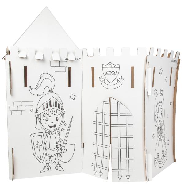 Château modulable Mabarac en carton avec un toit