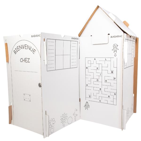 Cabane modulable Mabarac en carton avec un toit