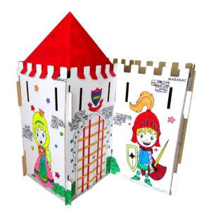Château modulable Mabarac décoré en carton avec un toit